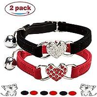 Kier Katzenhalsband Verstellbares Katzen Halsband mit Glocke und Herzanhänger mit Kristallsteinen 2 Stücke (Rot + Schwarz)