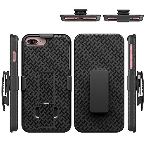 IPhone 7 Plus Case, HLCT Holster Combo Case with Kickstand and Swivel Belt Clip for Apple iPhone 7 Plus [5.5 inch] (Black)