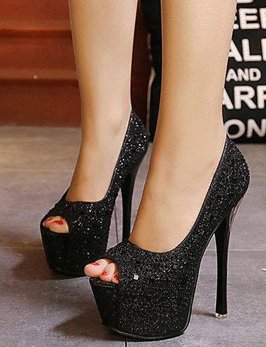 argento 37 aperta stiletto di n punta mujer tacones ¨ Fiesta EU noche vestido negro ZQ Scarpe ® confort tac pu THATR4q