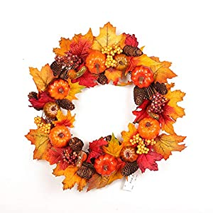 Mokylor Harvest Hollows Fall Wreath 18inch for Front Door Faux Pumpkins Gourds Berries Maple Leaves Thanksgiving Decoration Indoor Seasonal Autumn Home Decor 90