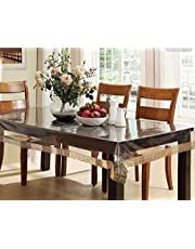 White Craft PVC 6 Seater Transparent Dining Table Cover - Gold,CTCOMPST01