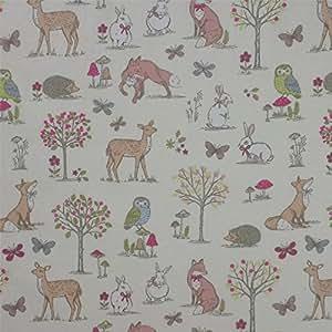 Diseño de bosque de animales de la crema 100% algodón cortina de ducha de tela Material A4 Paquete con muestras de