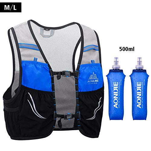 AONIJIE Trail Running Vest Backpack Lightweight Breathable Cycling Marathon Ultralight Hiking Sport Bag 2.5L with 500ml Soft Flask (blue-500ML, M/L)