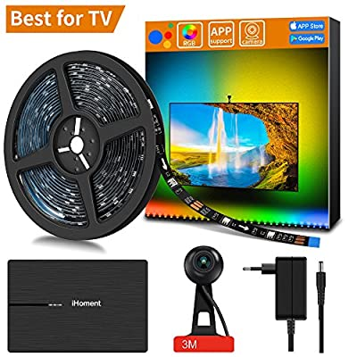 """MINGER LED Smart TV Backlight kit with Camera, 6.23ft Ambient Bias Lighting RGB Strip Lights with App,3-Modes (Video,Music,Custom), Compatible for Any TV Signal (Not Only HDMI), (40""""-46"""")"""