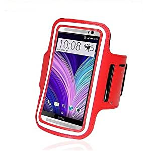 Hooshion Running Jogging Sports GYM Neoprene Armband Case Cover Holder for HTC ONE M8 Red