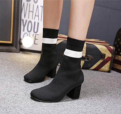 HBDLH Damenschuhe Aus Wolle Elastische Stiefel Absatz 8 cm Mode Hart Bei Square Kopf Ma Dingxue
