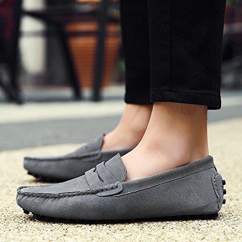 Lazy Sho Transpirable Gray Guisantes Punta Moda Solo Barco Zapatos Cómodo Mocasines Redonda Zapato Shoescanvas Hombres Ocio d1nwCXqxw