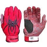 Spiderz Adult Hybrid Batting Glove Silicone Web Palm (Red/Black, Medium)