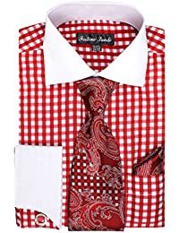Men's Gingham Check Dress Shirt, Tie, Hanky and Cufflink Set - Many Colors Available