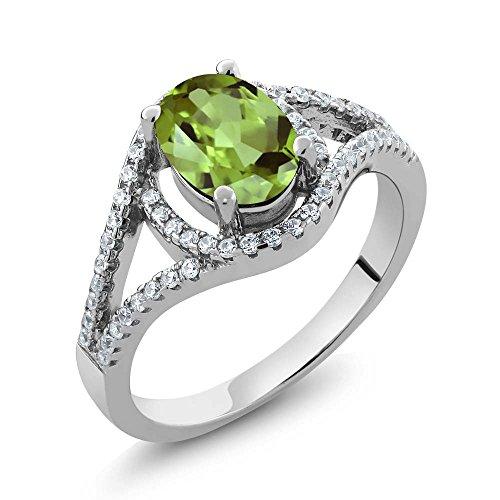 Sterling Silver Oval Green Peridot Women's Ring (2.04 cttw, Available in size 5, 6, 7, 8, (Sterling Silver Peridot Green)