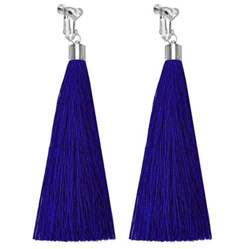 Bohemian Clip on Earrings Heart Clips Blue Long Silk Fringe Thread Tassel Dangle Wedding Prom Earring