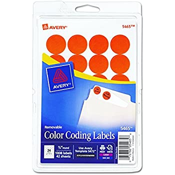 Avery Print Write Self Adhesive Removable Labels 075 Inch Diameter Orange