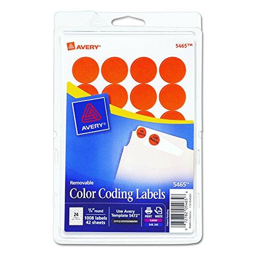 Avery Print/Write Self-Adhesive Removable Labels, 0.75 Inch Diameter, Orange, 1008 per Pack  (Avery Dot)