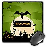 3dRose LLC 8 x 8 x 0.25 Inches A Halloween Bat Carrying A Halloween Sign In A Grave Yard Mouse Pad (mp_152302_1)