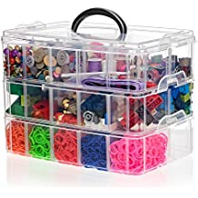 SnapCube Stackable Arts & Crafts Organizer Case, 3-Tier Clear Stackable Storage Box with Compartments, On-the-Go Craft Keeper, Jewelry Box, Bead Organizer Box, Card Organizer, or Tool Storage Box