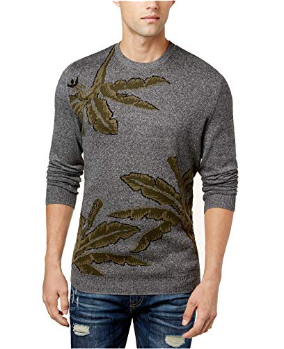 American Rag Mens Crewneck Palm Intarsia Knit Sweater, Ash Heather, XX-Large - Intarsia Knit Sweater
