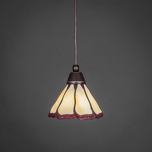 Toltec Lighting 22-DG-9165 One Light Cord Mini Pendant, Dark Granite Finish with Honey Burgundy Flair Tiffany Glass