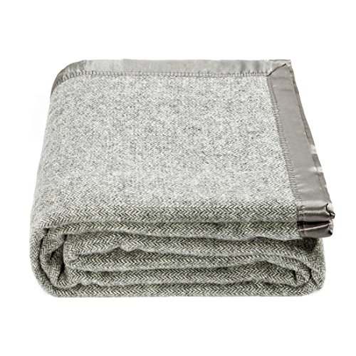 spencer & whitney Wool Blanket Grey Herringbone Blanket Queen Blanket Large Summer Blanket for Bed