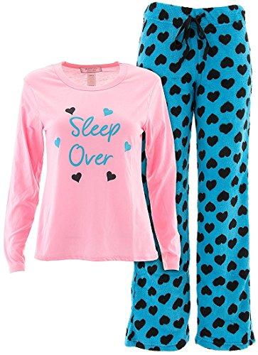 Inteco Intimates Juniors Sleep Over Pink Fleece Pajamas M