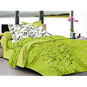 HUESLAND by Ahmedabad Cotton Superior Cotton Double Bedsheet with 2 Pillow Covers – Green