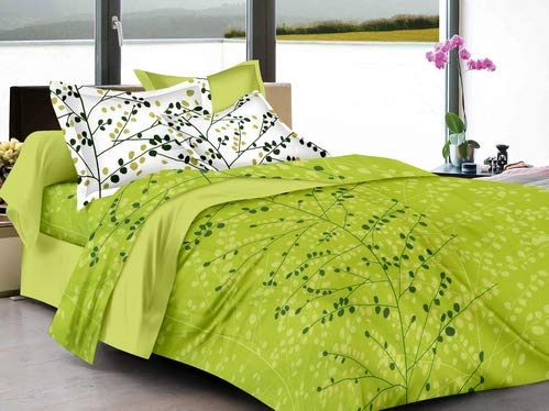 Ahmedabad Cotton Superior 160 TC Cotton Double Bedsheet with 2 Pillow Covers - Floral, Green product image