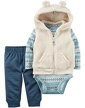 Carter's Baby Boys Vest Sets, Tan, 18M