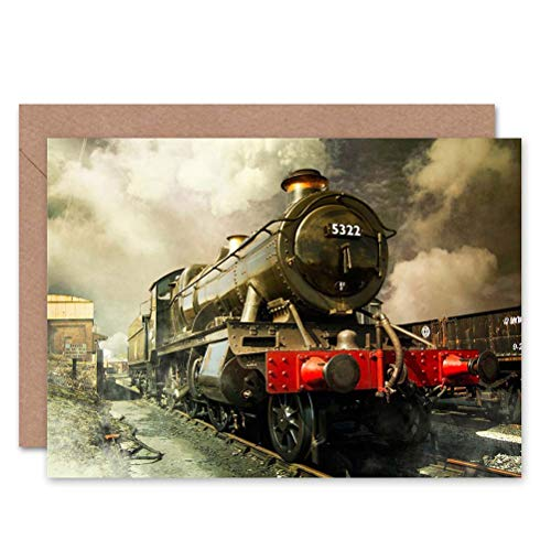- Wee Blue Coo STEAM Train Colour Photo Birthday Gift Blank Greetings Card
