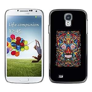 Shell-Star Arte & diseño plástico duro Fundas Cover Cubre Hard Case Cover para SAMSUNG Galaxy S4 IV / i9500 / i9515 / i9505G / SGH-i337 ( Skull Life Death Black Floral Art Spring )