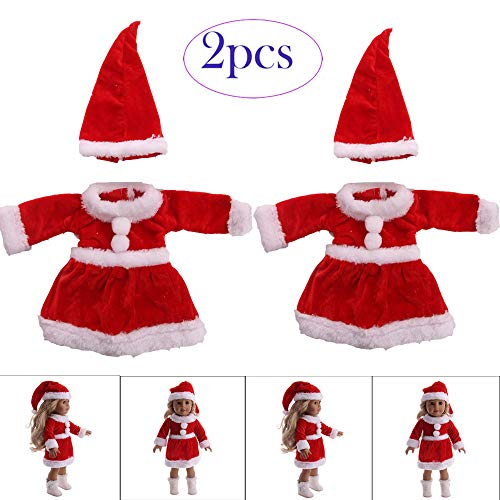 Lywey 2 Set Furry Chirstmas Hat + Dress Clothes for 18 Inch American Girl Doll Accessory Girl Toy