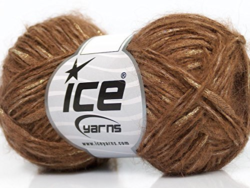 Lot of 8 Skeins Ice Yarns SALE MOHAIR-WOOL BLEND (15% Mohair 40% Cotton) Yarn Brown Gold - Gold Mohair Yarn
