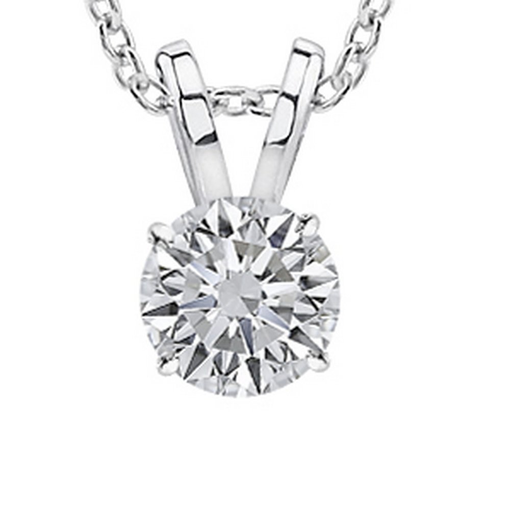 1.5 Carat 14K White Gold Round Diamond Solitaire Pendant Necklace 4 Prong J-K Color I1 Clarity