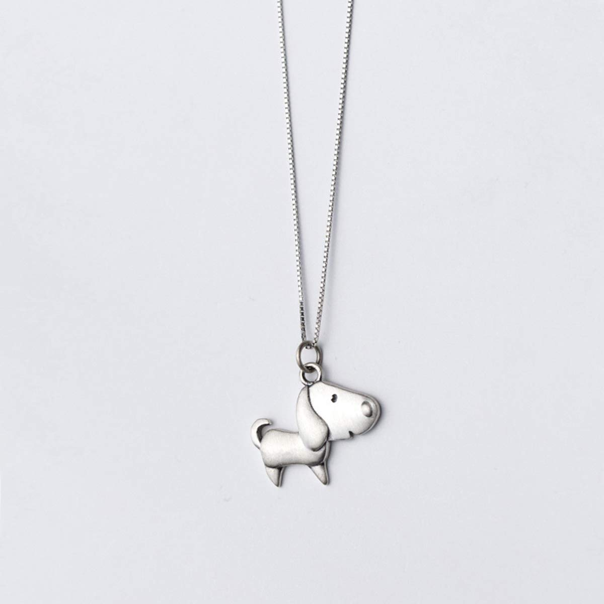 Onlyfo Cute 925 Silver Dog Puppy Pendant Necklace with Box Chain,Short Dog Necklace for Women (Silver)