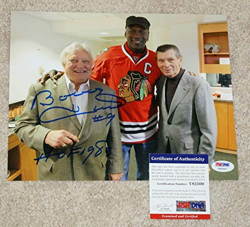 BOBBY HULL Signed BLACKHAWKS 8x10 photo + COA Y82500 w/MICHAEL JORDAN - PSA/DNA Certified - Autographed NBA Photos