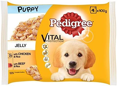 Pedigree Puppy Pouch Chicken, Beef & Rice 4 x 100g (PACK OF 4) – Dogs Corner
