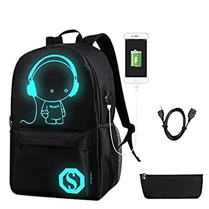 b489cbc6f8a3 Amazon.com   School Canvas Backpack with USB Charging Port and Lock ...