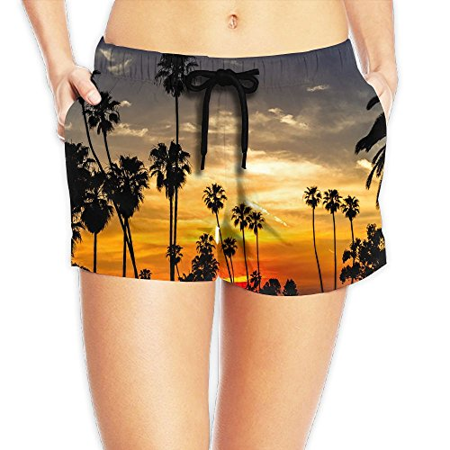 Palm Kernel Glycerine (Sunset Palms Women's Swim Trunks Quick Dry Water Beach Board Shorts)