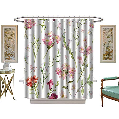 (luvoluxhome Shower Curtains with Shower Hooks Watercolor Floral Delicate Flower Paper Wildflowers Pink Retro W54 x L78 Satin Fabric Sets Bathroom )