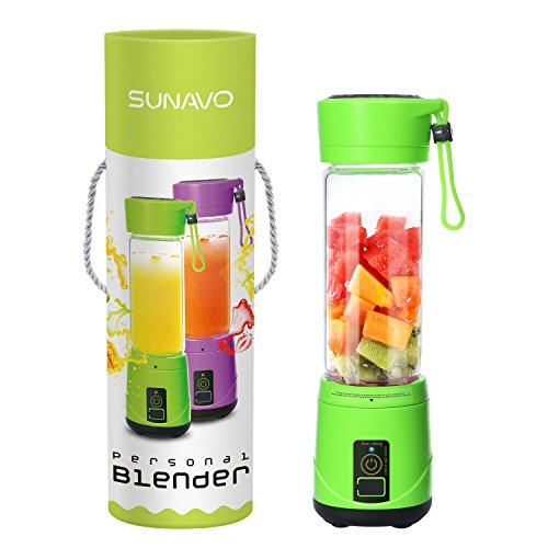 SUNAVO BL-10 Portable Blender Mixer USB Rechargeable,Blender Smoothie for Single Served,USB Electric Safety Juicer Cup,Shakes and Smoothies Blender,USB Charging Sport Mini Juice Maker,Green