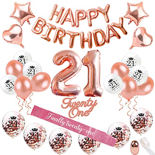 21st Birthday Decorations Party Supplies - Rose Gold 21 Birthday Balloon Number, Rose Gold Confetti Balloons, 21 Birthday Cake Topper, Birthday 21 Sash, Birthday Party Supplies 21 by QIFU