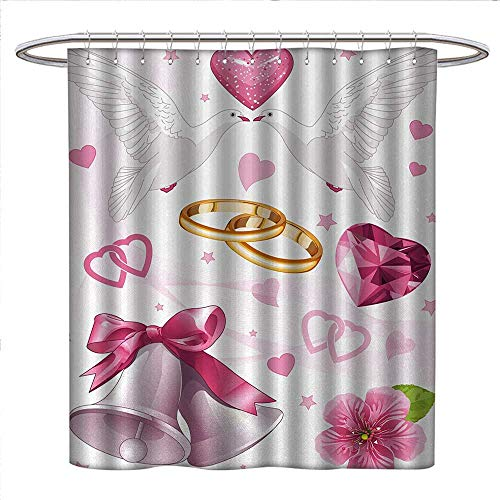 Wedding Shower Curtain Customized Wedding Themed Artwork Invitation Announcement Hearts Rings Birds Happiness Patterned Shower Curtain W69 x L75 Pink White -