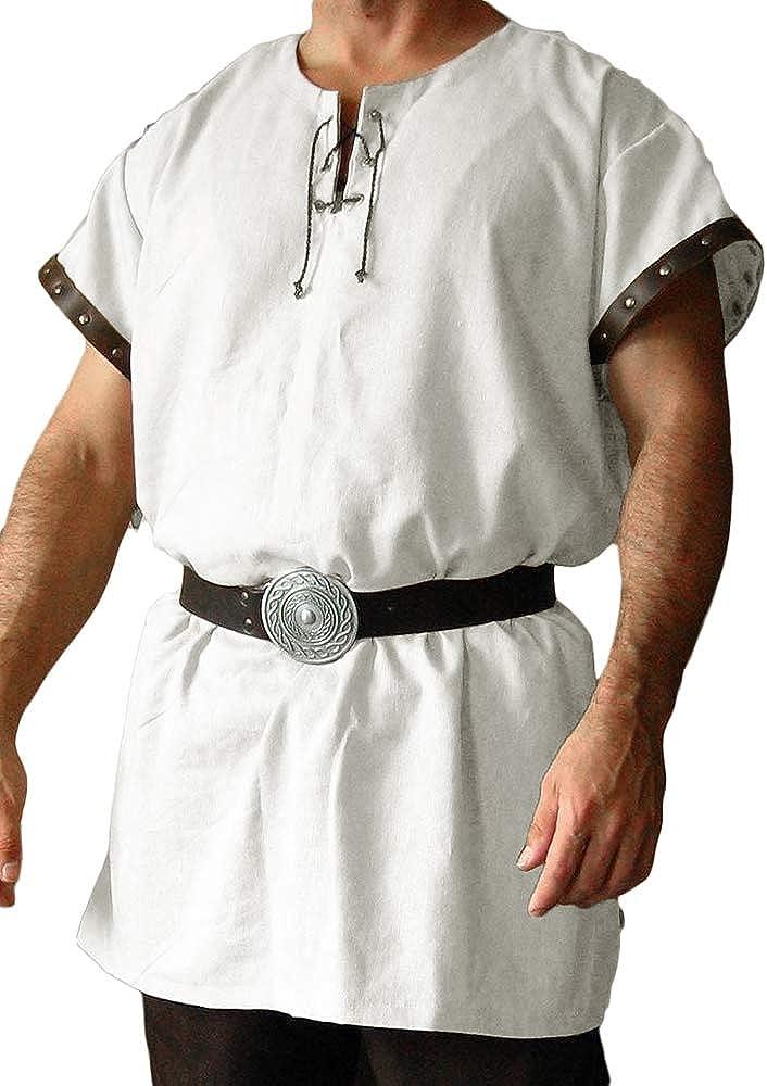 Fueri - Camisa de Manga Corta para Hombre, Estilo Medieval ...