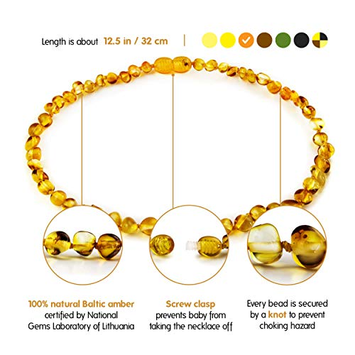 (Natural Baltic Amber Teething Necklace For Babies - Anti Inflammatory, Drooling & Teething Pain Relief - Honey Color - Polished - Unisex, 12.5 Inches, Screw Clasp, Knots - Perfect Baby Shower Gift)