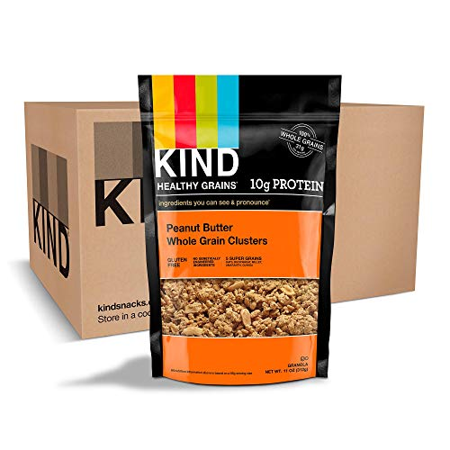 KIND Healthy Grains Clusters, Peanut Butter Whole Grain Granola, 10g Protein, Gluten Free, 11 Ounce Bags, 3 Count