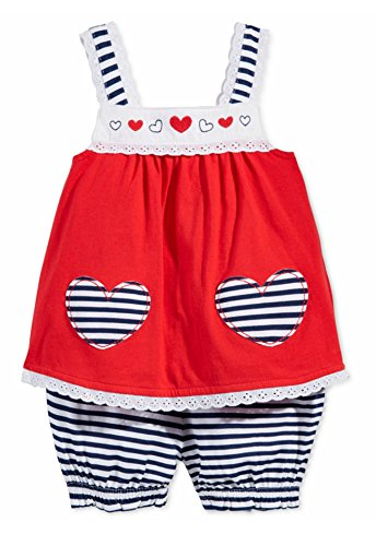 First Impressions Baby Girls 2-Piece Heart Tunic & Stripe Bloomers Set, Cherry Flame, 3-6 Months ()