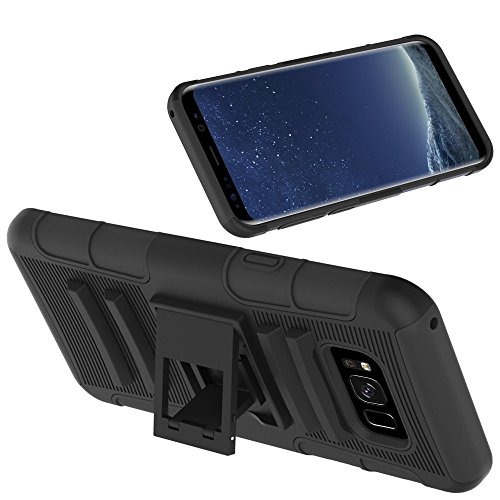 Galaxy S8 Active Case, Shock Absorbing Hard Cover Ultra Protective Heavy Duty Case with Holster Belt Clip + Built-in Kickstand for Samsung S8 Active AT&T