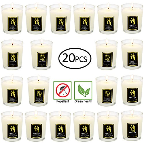 Highly Citronella candles Set of 20, Citronella, Rosemary, Sage, Lemon Grass blend, Essential Oils, Votive Candles in Clear Glass. Burns upto 12-15 hours each. Great Gift for Home, Patio, Gardens