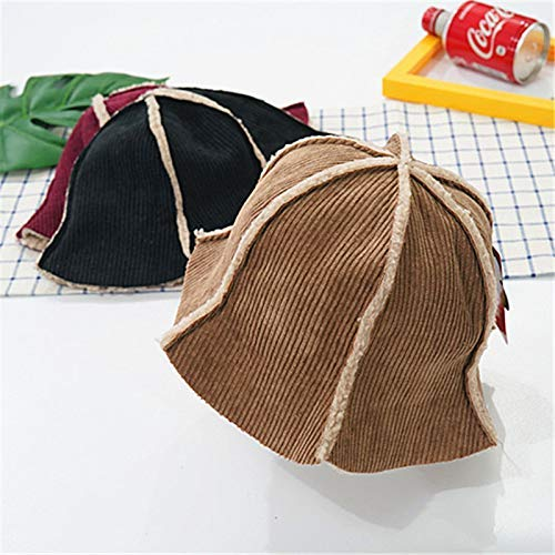 Home Children's Fisherman hat Spring and Autumn Winter Plus Velvet Warm 6 Male Baby hat 2-4 Years Old Girl Basin Cap Big Visor (Color : Brown) Very Soft (Color : Brown) by Kinue
