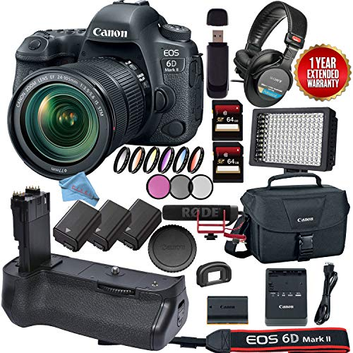 Canon EOS 6D Mark II DSLR Camera with 24-105mm f/4L II Lens (1897C009) Video Bundle Review