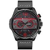 CURREN Original Brand Men's Sports Waterproof Leather Strap Wrist Watch 8259 All Black