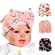 Baby hat with big bow hat bow beanie 0-3 month pack of 3 galabloomer